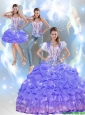 2015 Fall Pretty Beaded Quinceanera Dresses with Appliques in Lavender