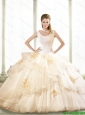 2015 Summer Beautiful Beading and Appliques Quinceanera Dresses in Champagne