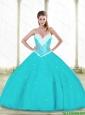 2015 Summer Elegant Aqua Blue Quinceanera Dresses with Beading and Ruffles
