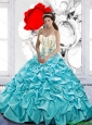 Elegant Pick Ups and Beaded Quinceanera Dresses with Hand Made Flowers For 2015 Fall