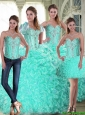 Perfect Brush Train Ball Gown Quinceanera Dresses with Beading and Ruffles For 2015 Summer
