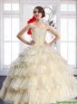 Perfect Champagne Sweetheart Quinceanera Dresses with Beading and Ruffled Layers For 2015 Summer