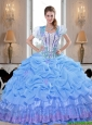 Prefect 2015 Summer Baby Blue Quinceanera Dresses with Appliques and Pick Ups