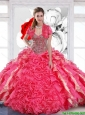 Pretty Beaded Sweetheart Quinceanera Dress with Hand Made Flowers For 2015 Summer