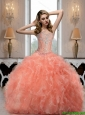 Luxurious Sweetheart Watermelon Quinceanera Dresses with Beading For 2015 Summer