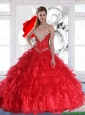New Arrival 2015 Summer Red Quinceanera Dresses with Ruffles and Beading
