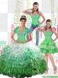 Puffy 2015 Summer Ball Gown Quinceanera Dress with Ruffled Layers