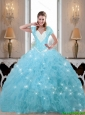Luxurious Beaded and Ruffles Sweet 16 Dresses in Baby Blue For 2015 Fall