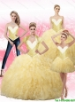 2015 Fall Elegant  Ball Gown Quinceanera Dresses with Beading and Ruffles