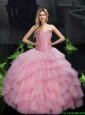 2015 Fall New Arrival Ball Gown Quinceanera Dresses with Beading in Baby Pink