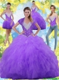 2015 Summer Beautiful Ball Gown Quinceanera Dresses with Beading and Ruffles