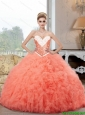 2015 Summer Pretty Ball Gown Watermelon Quinceanera Dresses with Beading