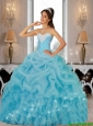 Beautiful 2015 Summer Beaded Quinceanera Dresses in Baby Blue