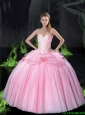 Beautiful Sweetheart Bowknot Quinceanera Dresses with Beading in Pink For 2015 Summer