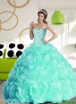Luxurious 2015 Summer Sweetheart Quinceanera Dresses with Beading and Rolling Flowers
