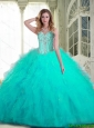 Pretty Sweetheart Aqua Blue Quinceanera Dresses with Beading and Ruffles For 2015 Summer
