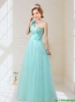 2015 Empire Lace Up Hand Made Flowers Prom Dresses in Mint