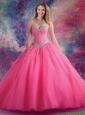 2015 Fall Luxurious Ball Gown Sweetheart Beaded Quinceanera Dresses in Hot Pink