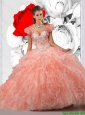 2015 Summer Beautiful Pink Sweet 16 Dresses with Beading and Ruffles