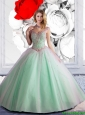 2015 Summer Elegant Off The Shoulder Beaded Sweet 16 Dress in Apple Green