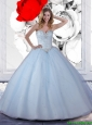 2015 Summer Pretty Ball Gown Light Blue Quinceanera Dresses with Beading