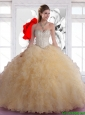 Beautiful Sweetheart Beaded and Ruffles Quinceanera Dresses in Champagne