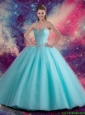 Beautiful Sweetheart Beaded Quinceanera Dress in Aqua Blue