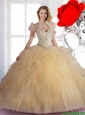 Luxurious 2015 Quinceanera Dresses with Beading and Ruffles in Champagne