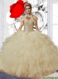 Luxurious Ball Gown Champagne Sweet 16 Dresses with Beading and Ruffles for 2015 Summer