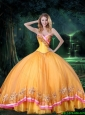 New Arrival Ball Gown Beaded Gold 2015 Quinceanera Dresses with Appliques
