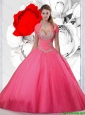New Style 2015 Winter Hot Pink Dresses for Quinceanera with Beading