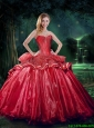 New Style 2015 Winter Sweetheart Beaded Sweet 15 Dresses in Red