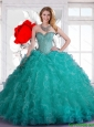 New Style Sweetheart Beaded and Ruffles Quinceanera Dresses in Turquoise for 2016