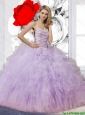 Pretty Ball Gown Lavender Sweet 16 Dresses with Beading and Ruffles for 2015 Summer