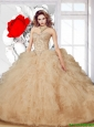 Beautiful Champagne 2015 Summer Ball Gown Sweet 16 Dress with Beading and Ruffles