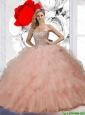 Perfect Ball Gown Pink Quinceanera Dresses with Beading and Ruffles for 2015 Summer