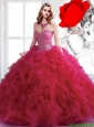 Summer 2015 Luxurious Beading Sweetheart Sweet 16 Dresses in Fuchsia