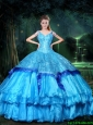 2015 Beautiful V Neck Beaded Quinceanera Dresses in Blue