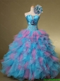 Multi Color Hand Made Flowers and Beaded Quinceanera Dresses for 2016 Summer