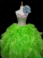 2015 Summer Luxurious Ball Gown Apple Green Quinceanera Dresses with Sequins and Ruffles