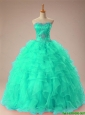 2016 Fall Elegant Sweetheart Beaded Quinceanera Dresses with Ruffles