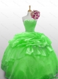 Perfect 2015 Strapless Beading Quinceanera Gowns in Spring Green