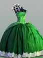 Beautiful Laced Sweetheart Green Quinceanera Dresses for 2015 Summer