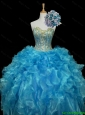 Elegant Sweetheart Sequins and Ruffles Quinceanera Dresses in Blue