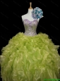 Luxurious Ball Gown Sweet 16 Dresses with Sequins and Ruffles in Yellow Green