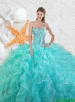 2016 Elegant Beading Sweetheart Quinceanera Dresses in Aqua Blue