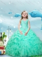 2016 New Style Scoop Apple Green Little Girl Pageant Dresses with Beading