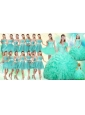 2016 Summer Perfect Ruffles and Beaded Quinceanera Dress and Aqua Blue A Line Dama Dresses and Cute Scoop Little Girl Dress and Short Beaded Prom Dr