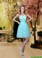 2016 New Style A Line Laced Bridesmaid Dresses with Appliques in Aqua Blue