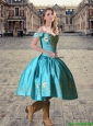 2016 Pretty Tea Length Teal Off the Shoulder Prom Dresses with Embroidery